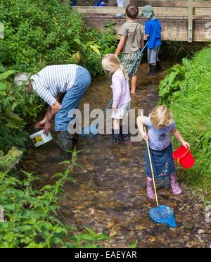 Gruppo di bambini di pesca in un flusso con reti.