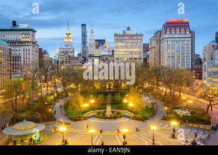 La città di New York, Stati Uniti d'America cityscape di Union Square a Manhattan. Foto Stock