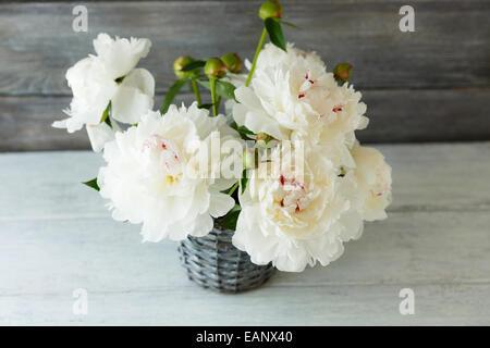 Peonie bianco in un vaso sulle schede, sfondo di legno Foto Stock