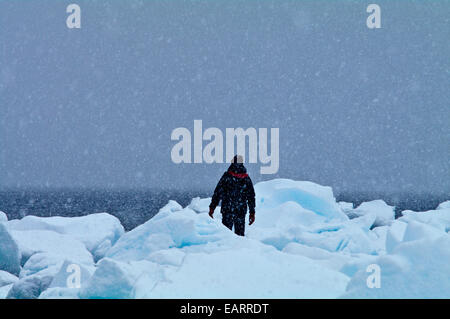 Un uomo escursioni in una bufera di neve su un isola litorale coperto di iceberg. Foto Stock