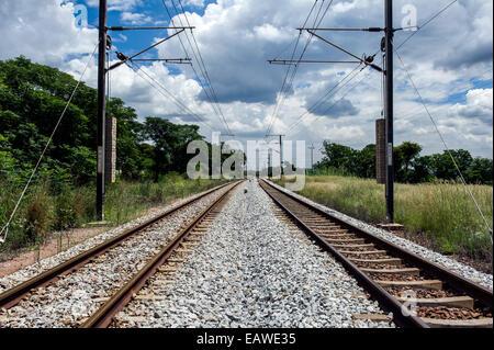 Dual binari ferroviari marzo attraverso la piatta veld verso Pretoria. Foto Stock