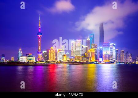 Shanghai, Cina skyline della città del Distretto Finanziario di Pudong. Foto Stock