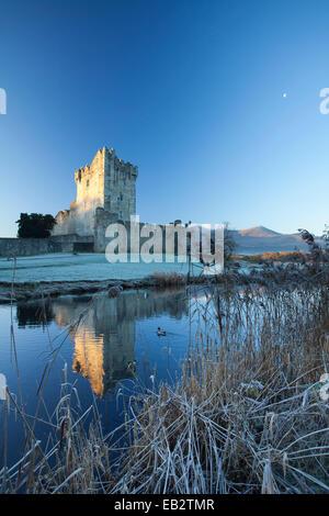 Inverno al Castello di Ross, Lough Leane, Parco Nazionale di Killarney, nella contea di Kerry, Irlanda. Foto Stock