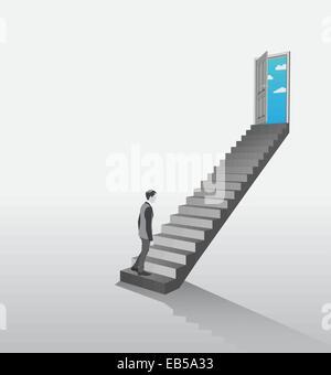 Imprenditore a salire le scale per aprire la porta che mostra sky Foto Stock