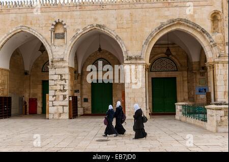 La Moschea di Al-Aqsa sul Monte del Tempio Mount Mariah, la Città Vecchia di Gerusalemme, Israele Foto Stock