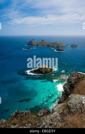 Vista dalla collina di Malabar su alcuni isolotti off Isola di Lord Howe, Nuovo Galles del Sud, Australia Foto Stock