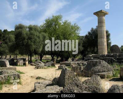 Tempio di Zeus ad Olimpia, Grecia, Peloponneso, Olympia Foto Stock