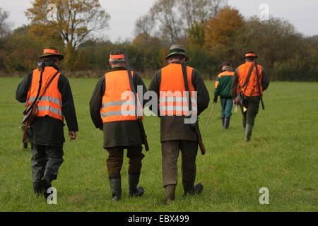 Alcuni cacciatori a piedi attraverso un prato prima di un battue, Germania Foto Stock