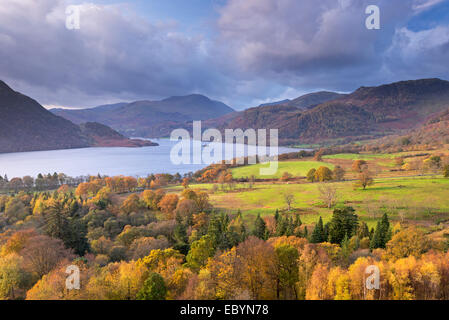 Ullswater da Gowbarrow cadde, Lake District, Cumbria, Inghilterra. In autunno (Novembre) 2014. Foto Stock