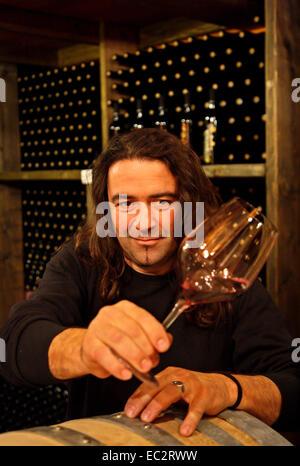 Il sig. Apostolos Kourtis, enologo da Rachi village (Pieria, Macedonia, Grecia) nella sua cantina. Foto Stock