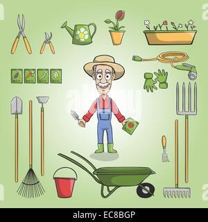 Felice giardiniere personaggio dei fumetti nel cappello con semi di piante  e set di strumenti illustrazione ed2041544953