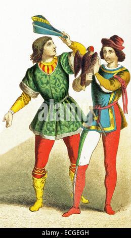 I dati italiani rappresentati data di D.C. 1400. Essi sono, da sinistra a destra: un giovane uomo italiano e un Foto Stock