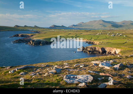 Vista di Brandon Mountain e la penisola di Dingle dalla testa di Clogher, nella contea di Kerry, Irlanda. Foto Stock