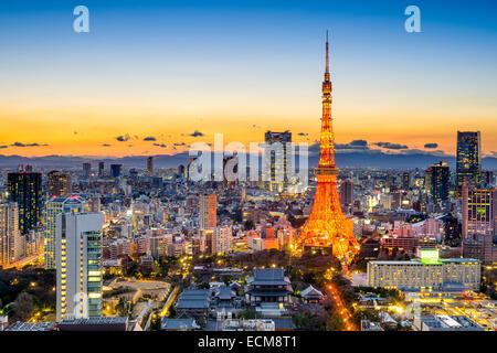 Tokyo, Giappone skyline a Tokyo Tower. Foto Stock