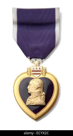Cuore viola a forma di cuore medal all'interno di un confine di oro Foto Stock