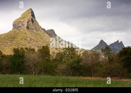 Maurizio, Tamarin, vette delle montagne du Rempart e Trois Mamelles Foto Stock