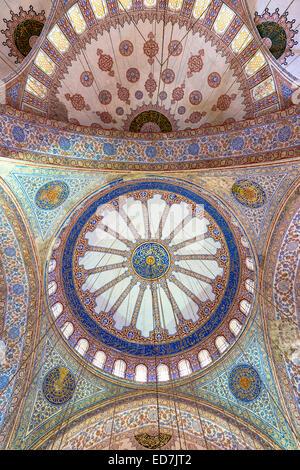 Abbellito ornato delle cupole della moschea Blu, Sultanahmet Camii o Sultan Ahmed moschea di Istanbul, Repubblica Foto Stock