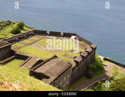 Brimstone Hill Fort George affacciato sui Caraibi sull'isola di St Kitts Foto Stock