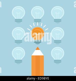 Concetto di commercializzazione in uno stile piatto - distinguiti dalla massa - luce brillante lampadina e matita Foto Stock