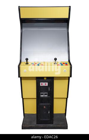Vintage video arcade game isolato su bianco Foto Stock
