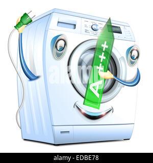 Macchina di lavaggio, A+++ energia nominale, illustrazione Foto Stock