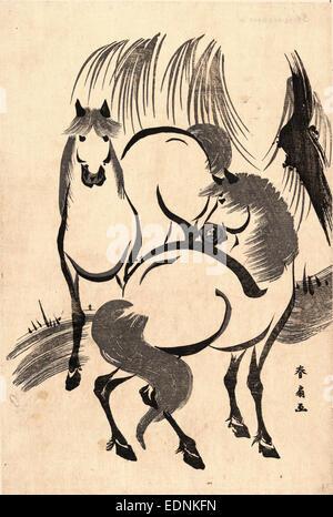 Ryuka uma non, cavalli sotto un salice., Katsukawa, Shunsen, 1762-circa 1830, artista [tra il 1804 e il 1818], 1 Foto Stock