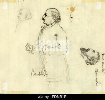 Benjamin Butler, tra il 1860 e il 1865, disegno su bianco carta rigata matita, 13.0 x 11.3 cm. (Foglio), 1862-1865, Foto Stock