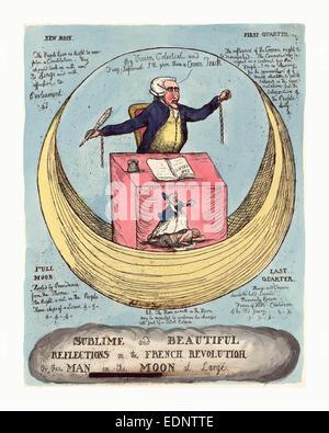Sublime e belle riflessioni sulla rivoluzione francese, o l'uomo della luna a grandi, incisione 1790, Edmund Burke Foto Stock