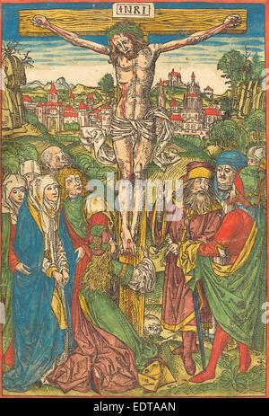 Attribuito a Michael Wolgemut (tedesco, 1434 - 1519), la Crocifissione con Santa Maria Maddalena, c. 1490, colorate Foto Stock