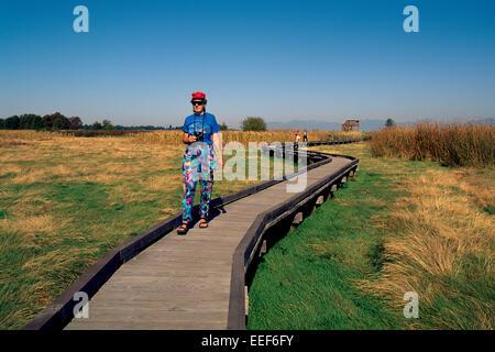 Donna che cammina sul lungomare, e birdwatching / guardare per uccelli, Boundary Bay Regional Park, Delta, British Foto Stock
