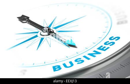 Bussola con ago rivolto la parola business, bianco e i toni di blu. Immagine di sfondo per la illustrazione del Foto Stock
