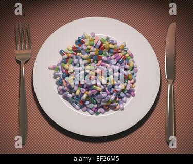 Piatto pieno di farmaci e supplementi invece di cibo. Percorso di clipping incluso. Foto Stock