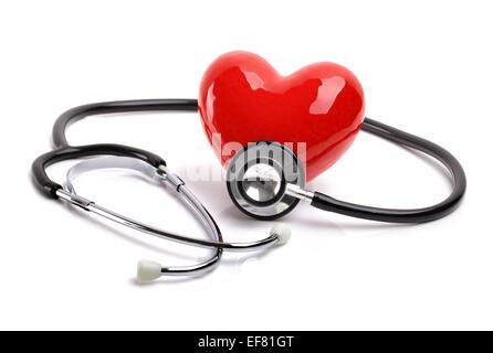 Lo stetoscopio e il cuore Foto Stock