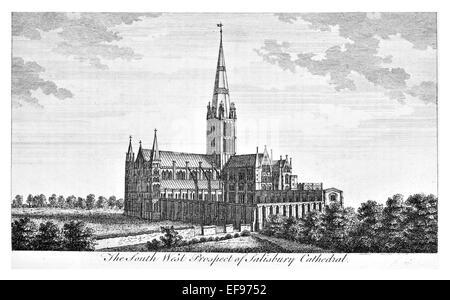 Incisione su rame 1776 bellezze paesaggistiche Inghilterra più eleganti magnifici edifici pubblici della Cattedrale di Salisbury Sud Ovest