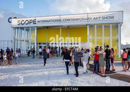 Florida Miami Beach Scope International Contemporary Art Show Basel satellite fair front entrance American Americans FL141205003