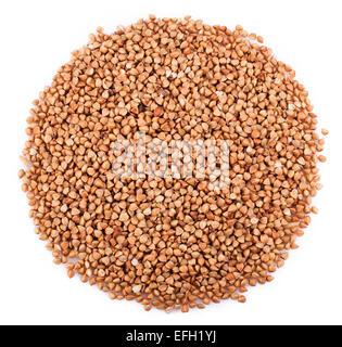 Il grano saraceno fresco su uno sfondo bianco. Primo piano Foto Stock
