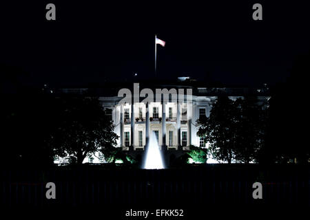 La Casa Bianca di notte, 1600 Pennsylvania Avenue, Washington D.C., USA Foto Stock