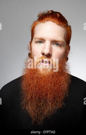Ritratto in studio di staring giovane con i capelli rossi e la barba ricoperta Foto Stock