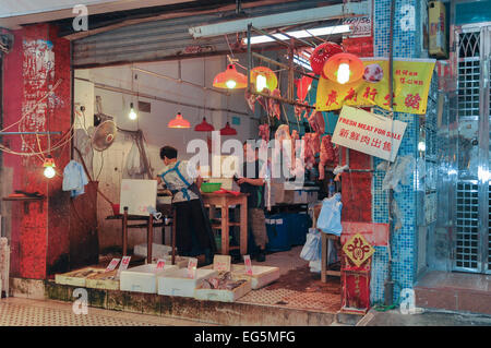 Carni fresche - stallo Gage Street mercato umido, Hong Kong Foto Stock