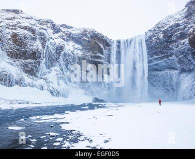 Un Uomo in camicia rossa a cascata Skogafoss in inverno Skogar Sud Islanda Islanda Europa Foto Stock