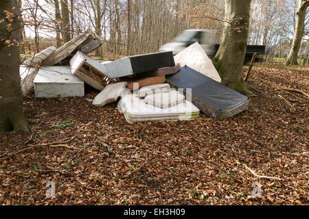 Ribaltabile carrello aziona passato letti e materassi fly ribaltata in area boscata, UK. 03/03/15 unsharpened Foto Stock
