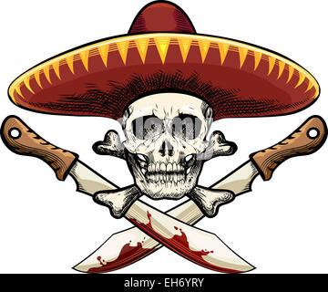 ... Illustrazione del cranio a sombrero contro due machete disegnato in  tatuaggio stile di disegno Foto Stock 2a4a0130f9eb