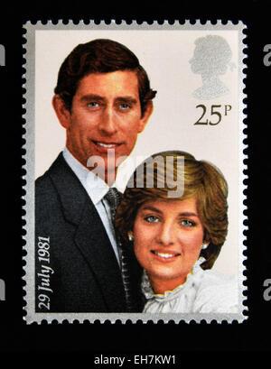 Francobollo. La Gran Bretagna. La regina Elisabetta II. 1981.Royal Wedding, 29th.Luglio 1981. Il principe Charles e Lady Diana Spencer. 25p