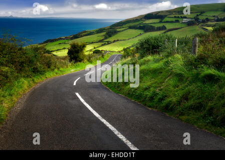 Strada vicino a Torr testa con verdi campi in background. Costa di Antrim Irlanda del Nord Foto Stock