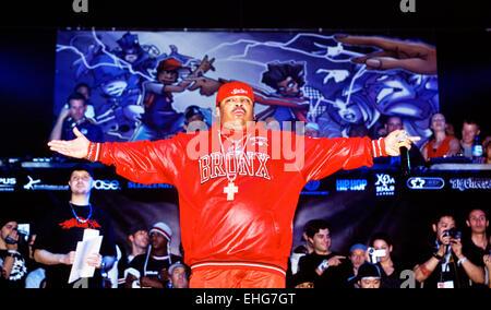 Presentatore al mondo il campionato di B-Boy alla Brixton Academy di Londra. Foto Stock