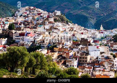Tradizionale piccola città nel nord-ovest del Marocco Foto Stock