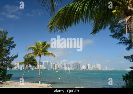 Stati Uniti d'America, Florida, Dade County, Miami, visto da di Key Biscayne Foto Stock