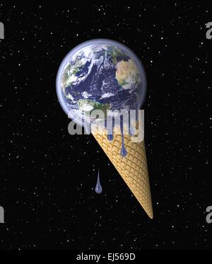 Messa a terra in forma di gelato che simboleggiano il riscaldamento globale.Globe la mappatura di immagine fornita dalla NASA Foto Stock