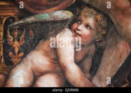 Affresco di Cupido ( Putto) in camera del matrimonio di Alexander e Roxana. Villa Farnesina, Roma, Italia. Foto Stock