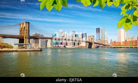 Il ponte di Brooklyn e Manhattan Foto Stock